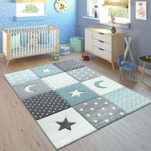 Gyerekszoba szőnyeg - pasztell kék és szürke éjszakai mintákkal - több választható méretben