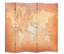 VID sárga paraván 200 x 180 cm világtérkép