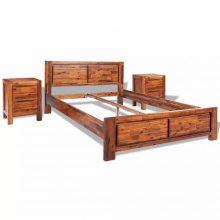 VID barna tömör akácfa ágykeret szekrényekkel 180x200cm